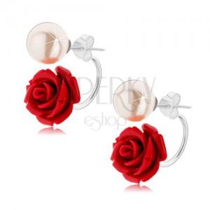 Oboustranné stříbrné náušnice 925, perleťově bílá kulička, bordó růže