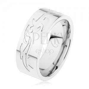 Ocelový prsten, stříbrná barva, gravírovaný tribal vzor