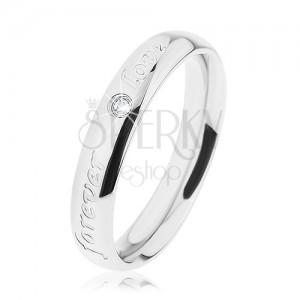 Prsten z oceli 316L, stříbrná barva, gravírovaný nápis, čirý zirkonek