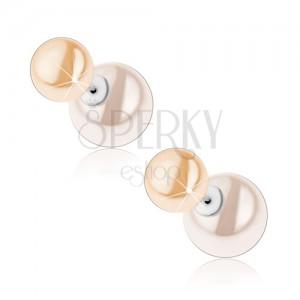 Stříbrné náušnice 925, oboustranné, perleťově bílá a krémová kulička