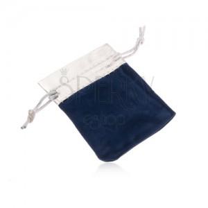 Modrý dárkový sáček ze sametu, horní část ve stříbrném odstínu