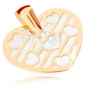 Přívěsek ze žlutého 9K zlata - srdce zdobené výřezy, podklad z perleti