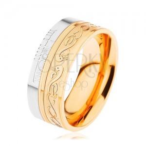 Lesklý prsten z oceli 316L, zlatá a stříbrná barva, spirála, had, zářezy