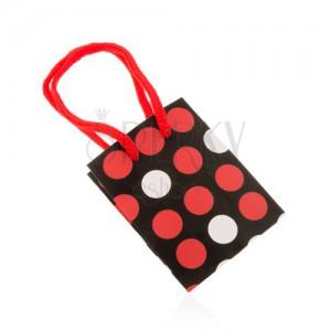 Dárková taštička z papíru, černý podklad, bílé a červené tečky, šňůrky
