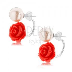Stříbrné náušnice 925, oboustranné, světle červená růže, bílá kulička