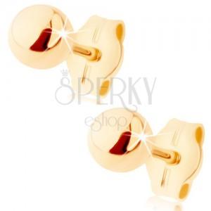 Zlaté náušnice 375 - malá lesklá kulička, puzetky