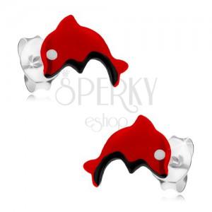 Puzetové náušnice ze stříbra 925, červený skákající delfínek, glazura