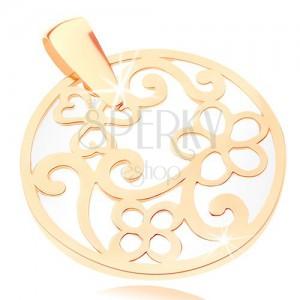 Přívěsek ve žlutém 9K zlatě - kontura kruhu s ornamenty, perleťový podklad