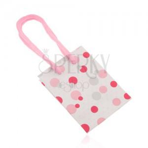Taštička na dárek, hladký povrch, vzor barevných puntíků, šňůrky