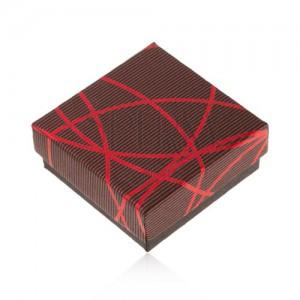 Dárková krabička na šperk, černočervená, křižující se linie, proužky