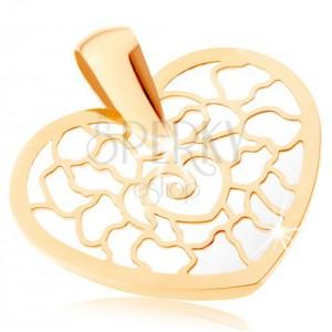 Zlatý přívěsek 375 - obrys srdce s ornamenty, podklad z perleti