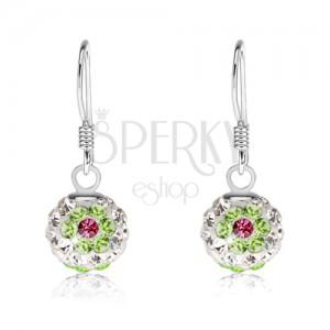 Bílé náušnice ze stříbra 925, zelenorůžové květy, Preciosa krystaly, 8 mm