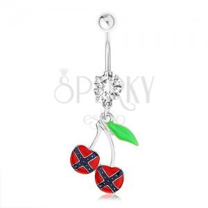Ocelový piercing do pupíku, třešničky, vlajka konfederace, zelený list