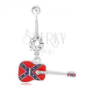 Piercing do pupíku z chirurgické oceli, kytara s motivem vlajky konfederace