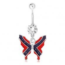 Ocelový piercing do bříška - motýl, vlajka konfederace