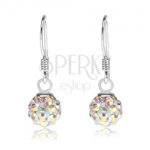 Stříbrné náušnice 925 - bílé kuličky, krystalky s duhovým leskem, 6 mm