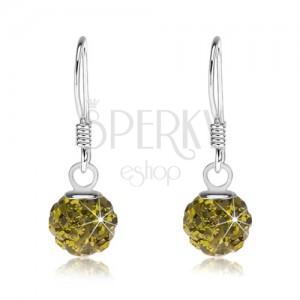 Kuličkové náušnice ze stříbra 925, Preciosa krystaly zelené barvy, 6 mm