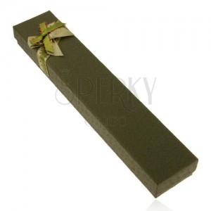 Dárková krabička na řetízek a hodinky, tmavě zelený odstín, mašle