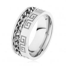 Ocelový prsten stříbrné barvy, zářez s řetízkem, řecký klíč