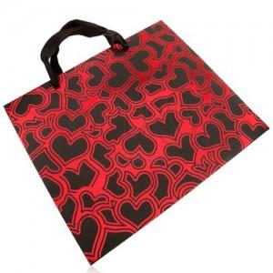 Papírová taška na dárek, tmavě šedá s červenou, lesklé obrysy srdcí