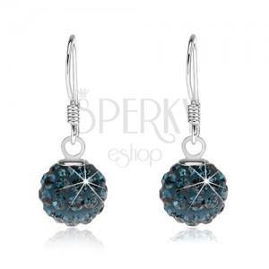 Blýskavé stříbrné náušnice 925, tmavě modré kuličky s krystaly, 8 mm