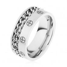 Prsten z oceli 316L, stříbrná barva, řetízek, křížky v kruzích
