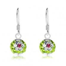 Náušnice ze stříbra 925, zelené kuličky, květy z čiro-růžových krystalů, 8 mm