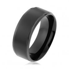 Černý prsten z chirurgické oceli, matný vyvýšený pás, lesklé okraje