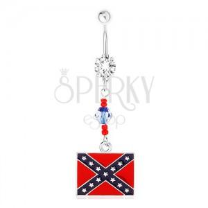 Ocelový piercing do břicha, čirý zirkon, korálky, motiv konfederační vlajky
