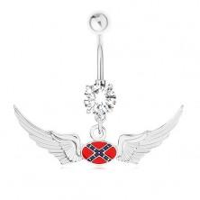Ocelový piercing do bříška, zirkon, motiv vlajky Konfederace, křídla