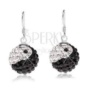 Stříbrné náušnice 925, kuličky, čiré a černé krystaly, jin jang, 14 mm