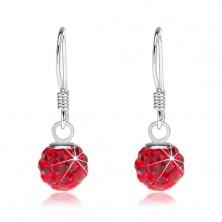 Kuličkové náušnice ze stříbra 925, Preciosa krystaly červené barvy, 6 mm