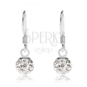 Stříbrné náušnice 925, bílé kuličky, čiré Preciosa krystalky, 6 mm