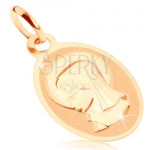 Přívěsek ve žlutém 9K zlatě - oválný medailon s Pannou Marií, lesklo-matný