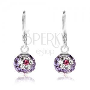 Fialové kuličkové náušnice, stříbro 925, čiro-růžové květy z krystalů, 8 mm