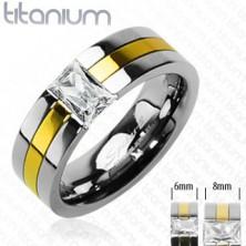 Titanový snubní prsten se zlatým pruhem a zirkonem