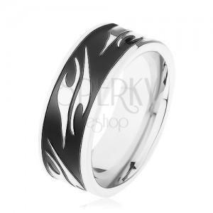 Lesklý prsten z chirurgické oceli, černý pás zdobený motivem tribal