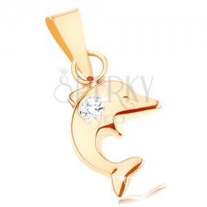 Přívěsek ve žlutém 9K zlatě - malý skákající delfín, kulatý čirý zirkon