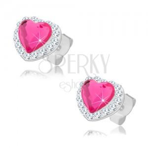 Puzetové náušnice ze stříbra 925, růžové srdce, čiré Preciosa krystalky
