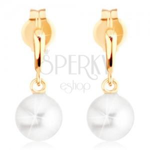 Náušnice ve žlutém 9K zlatě - úzká slzička, kulatá bílá perla