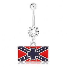 Ocelový piercing do pupíku, čirý zirkon, jižanská vlajka, maltézský kříž PC20.03