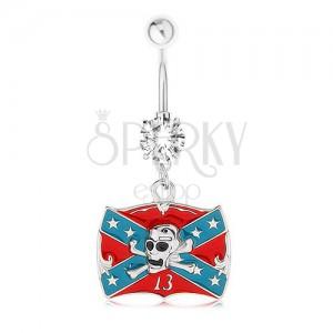 Piercing do břicha, ocel 316L, zirkon, konfederační vlajka, lebka