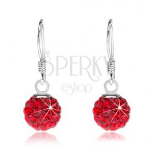 Stříbrné náušnice 925, Preciosa krystaly červené barvy, 8 mm