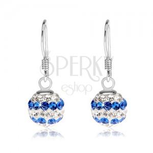 Kuličkové náušnice ze stříbra 925, čiré a modré Preciosa krystalky, 8 mm