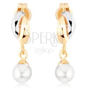 Zlaté náušnice 375 - dvoubarevné obloučky, bílá kulatá perlička