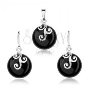Set ze stříbra 925, náušnice a přívěsek, černý kulatý onyx, ornament