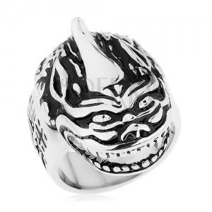 Masivní prsten, ocel 316L, patina, hlava draka, čínské znaky