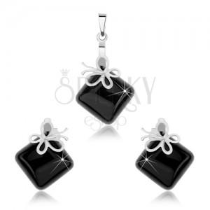 Sada náušnic a přívěsku, stříbro 925, černý onyxový čtverec, motýl