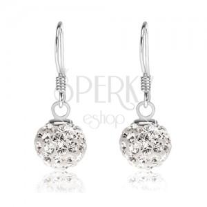 Náušnice ze stříbra 925, bílé kuličky s čirými krystaly Preciosa, 8 mm
