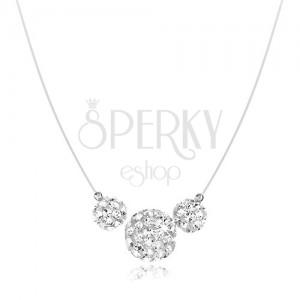 Náhrdelník ze stříbra 925, bílé kuličky s krystalky Preciosa, silon